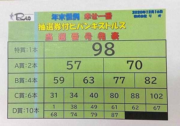 抽選券付ヒパンキストルス・当選番号発表!!